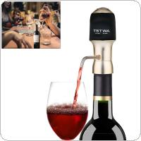 One-Touch Portable  Champagne Gold 6 Times Pressure Electric Instant Wine Aerator Sober with LED Light Button and 2 Hoses