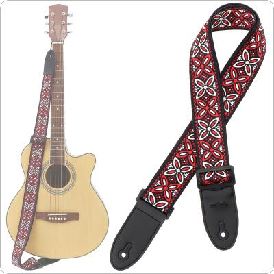 Adjustable Printing Flower Guitar Strap with National Style for Acoustic Electric Bass Guitar
