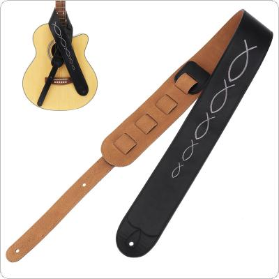 Genuine Leather Embroidery Guitar Strap 6.5cm Widen with Cow Suede Bottom for Acoustic Electric Bass Guitar