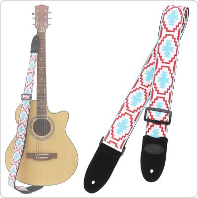 Jacquard Weave Double Fabric Guitar Strap Genuine Leather Cow Suede Ends with for Acoustic Electric Guitar Bass