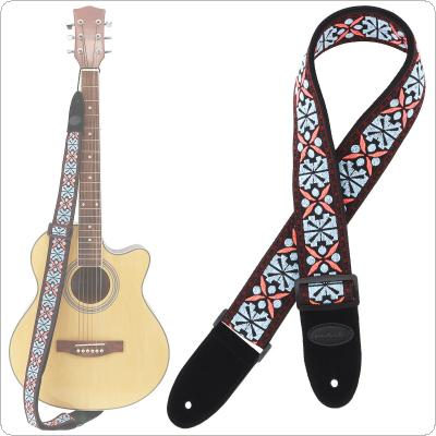 Jacquard Weave Double Fabric Guitar Strap Flowers Pattern Genuine Leather Cow Suede Ends with for Acoustic Electric Guitar Bass