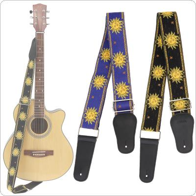Jacquard Weave Double Fabric Guitar Strap Sun Flower Pattern Genuine Leather Ends with for Acoustic Electric Guitar Bass
