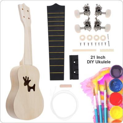21 Inch Ukulele DIY Kit Deer Sound Hole Basswood Soprano Hawaii Guitar Handwork Painting for Parents-child Campaign