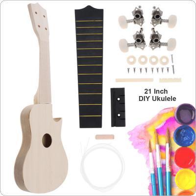 21 Inch Cutaway Ukulele DIY Kit Basswood Soprano Hawaii Guitar Handwork Painting for Parents-child Campaign