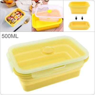Yellow 500ML 6 Inch Portable Rectangle Silicone Scalable Folding Lunchbox Bento Box with Silicone Sealing Plug for - 40 ~ 230 Centigrade
