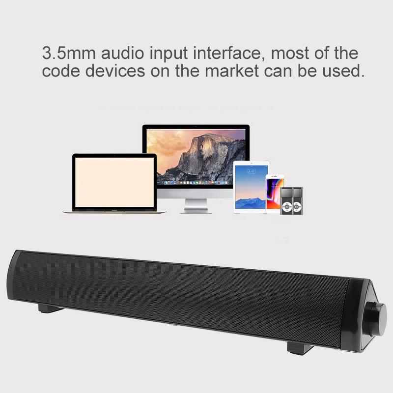 SADA V-105 Multi-media Soundbars Speaker Mobile Phone Computer Universal Mini Strip Speaker with 2 Speakers Units and Stereo Surround Sound for Household / Off