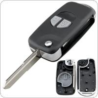 2 Buttons Modified Folding Remote Car Key Case Shell with HU87 Blade and Button Pad Fit for Suzuki SX4