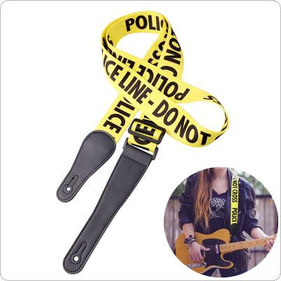 Adjustable Yellow Guitar Strap Police-Line Words Pattern with Genuine Leather Head for Acoustic Electric Bass Guitar