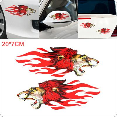 1 Pair 20 x 7cm PVC Flame Leopard Pattern Reflective Outdoor Car Motorcycle Body / Bumper / Hood /  Decals Window / Scratch Sticker