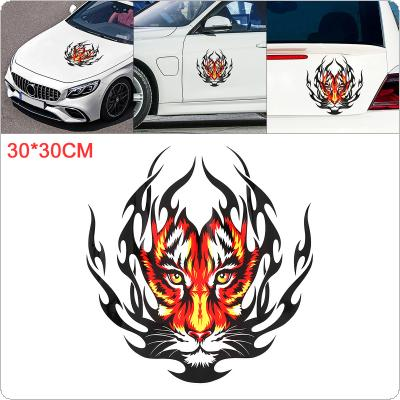 30 x 30cm PVC Reflective Tiger-Head Pattern Waterproof Car Hood Motorcycle/ Car Body / Bumper / Decals Window / Scratch Sticker