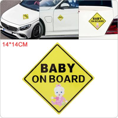 14 x 14cm PET Baby on Board Pattern Outdoor Reflective Car Motorcycle Body / Bumper / Hood / Decals Window / Scratch Sticker