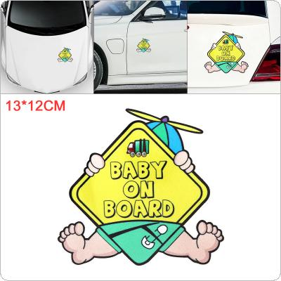 13 x 12cm PET Baby on Board Pattern Outdoor Reflective Car Motorcycle Body / Bumper / Hood / Decals Window / Scratch Sticker