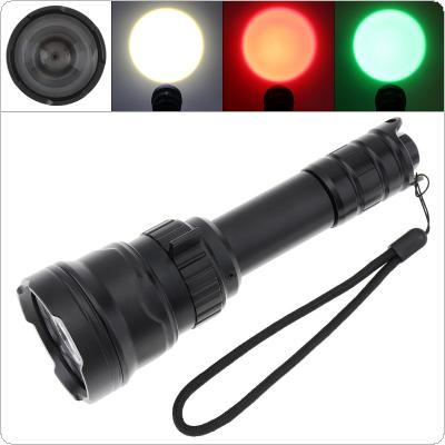 B198 Hand Held Rotary Focusing LED Outdoor Tactical Flashlight with White + Red + Green Three-color Light  Fit for Hunting