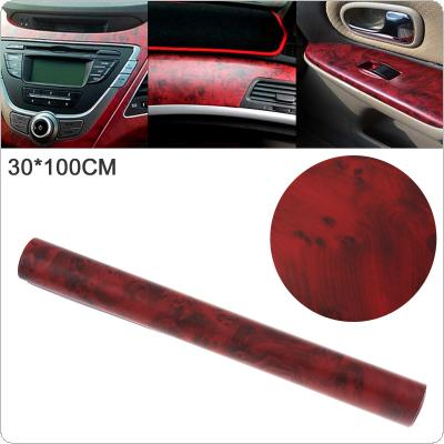 30 x 100cm PVC Matte Red Wood Pattern  Automobile Repacking Sticker Fit for Car / Motorcycle / Electronic Product / Home