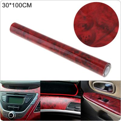 30 x 100cm PVC Smooth Red Wood Pattern Automobile Repacking Sticker Fit for Car / Motorcycle / Electronic Product / Home