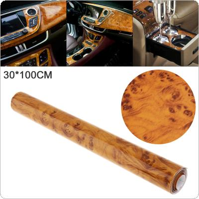 30 x 100cm PVC Smooth Wood Pattern Automobile Repacking Sticker Fit for Car / Motorcycle / Electronic Product / Home