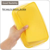 Yellow 1200ML 8 Inch Portable Rectangle Silicone Scalable Folding Lunchbox Bento Box with Silicone Sealing Plug for - 40 ~ 230 Centigrade
