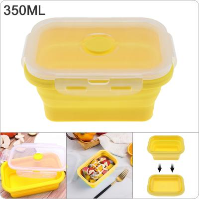 Yellow 350ML 5 Inch Portable Rectangle Silicone Scalable Folding Lunchbox Bento Box with Silicone Sealing Plug for - 40 ~ 230 Centigrade
