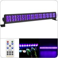 Double Row 24 LED 72W UV Violet Black Lights with Voice Control / Self-propelled / DMX 512 for Christmas Party / Bar / Wall Washer Spot Light Backlight