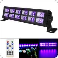 Double Row 12 LED 36W UV Violet Black Lights with Voice Control / Self-propelled / DMX 512 for Christmas Party / Bar / Wall Washer Spot Light Backlight