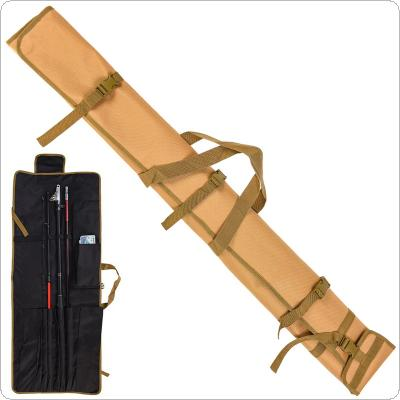 1.25m Foldable Fishing Rod Roll Up Bag Fishing Pole Storage Portable Shoulder Bag with 13 Pockets