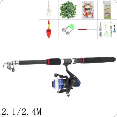 2.1m 2.4m Fishing Rod Reel Line Combo Full Kits Spinning Reel Pole Set with Carp Fishing Lures Fishing Float Hooks Beads Bell Lead Weight Etc