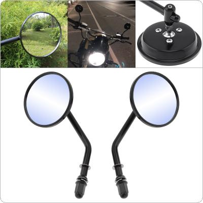 1 Pair Motorcycle Rearview Mirror Round Aluminum Alloy Universal Reversing Mirror Black