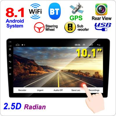 2 DIN 10.1 Inch QUAD core Android 8.1 HD Capacitive Touch Screen Bluetooth Car MP5 GPS Player Support Dual USB / AM /  FM / AUX In /  Mirror Link / WIFI