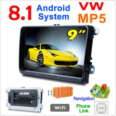 2 DIN 9 Inch QUAD core Android 8.1 Car MP5 GPS Navi Player Support Bluetooth / FM / Phone Link / WIFI Fit for Volkswagen VW Skoda Octavia Golf Passat Jetta Polo