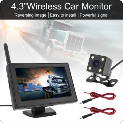 4.3 Inch Wireless Backup Camera Rear View Camera System TFT LCD Vehicle Rear View Monitor + Waterproof Night Vision Camera for SUV RV Pickup Minivan