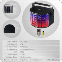 15W Black 9 Color Lights LED Flash Stage Light Crystal Magic Ball Support Auto / Voice / Remote / DMX512 Control for KTV / Disco / Bar / Concert
