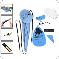 9pcs/set Saxophone Clarinet Flute Cleaning Tools Care Suit Artificial Faux Suede Inside Tube Cloth Reed Case Mouthpiece Brush Screwdriver Gloves Kit