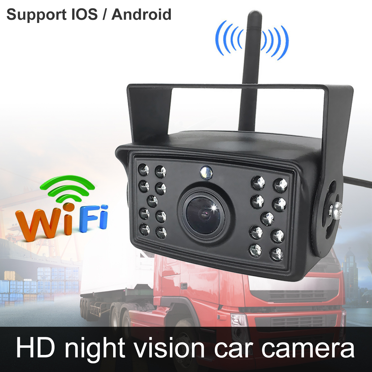 WiFi Backup Camera 1080P Full HD Wireless Rear View Camera Car Parking Assistance Night Vision with Record Function On APP Support IOS / Android