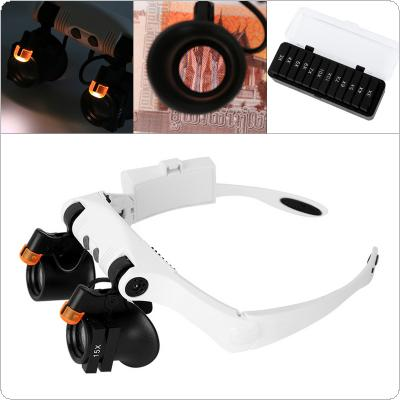 17X 21 Amplification Ratio Interchangeable Lens Cold Warm Light Adjustable Headband Eyeglass Magnifier with 2 LED Lights and 12 Lens for Electronic Maintenance