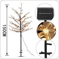 Waterproof 1.5M 104 LED Solar Cherry Tree Light for Garden / Patio / Party / Wedding / Christmas Decoration
