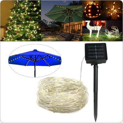 1.5M 8 Strands 120pcs 0603 LED Warm Light Solar Umbrella Light String with 8 Modes for Christmas / Wedding / Party / Home / Garden / Bedroom / Outdoor