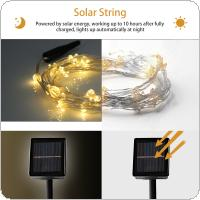 2M 10 Strands 200pcs 0603 LED Warm Light Solar Waterfall Light String with 8 Modes for Christmas / Wedding / Party / Home / Garden / Bedroom / Outdoor