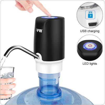 Black Portable Push-button Wireless Rechargeable Electric Dispenser Water Pump with USB Cable / Blue Light / 304 Stainless Steel Tube for 4.5L - 18.9L Barrelled