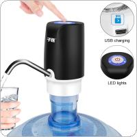 Black Portable Push Button Wireless Rechargeable Electric Dispenser Water Pump with USB Cable / Blue Light / 304 Stainless Steel Tube for 4.5L - 18.9L Barrelled
