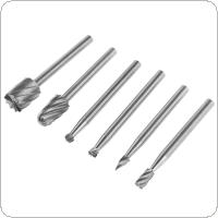 6pcs/set Rotary Rasp High Speed Steel Woodworking Tools Rotary Files Set with 3mm Shank Diameter for Electric Grinding Head Grinding Tool