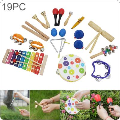 19pcs Orff Percussion Musical Instruments Set Hand Drum Knock Piano Xylophone Maracas Wrist Bells Mixed Kit for Children Baby Early Education
