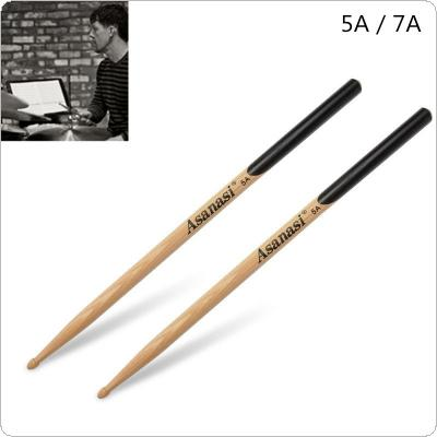 1 Pair Walnut Wood Drum Sticks 5A 7A Music Band Jazz Drumsticks with Black Handle