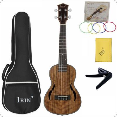 23 Inch Concert Ukulele Walnut Wood 18 Fret Four Strings Hawaii Guitar + Bag + Capo + Colorful String + Cloth