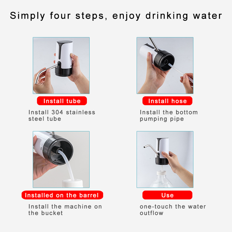 Portable Touch Button Wireless Rechargeable Electric Dispenser Water Pump with USB Cable and 304 Stainless Steel Tube for 4.5L - 18.9L Barrelled Water