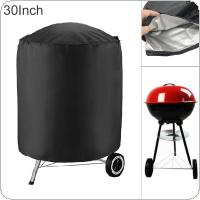 30 Inches 210D Oxford Fabric Black Round Waterproof Dustproof Outdoor Garden BBQ Grill Fire Pit Cover