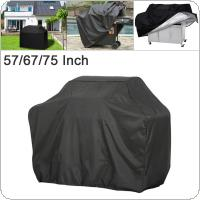 57 / 67 / 75 Inches  210D Oxford Fabric Black Waterproof Dustproof Outdoor Garden BBQ Grill Fire Pit  Cover