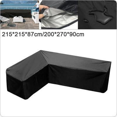 M / L 210D Oxford Fabric Black  Rectangle Waterproof Dustproof  Outdoor Garden Furniture Corner Cover Rattan L Shape Sofa Protector