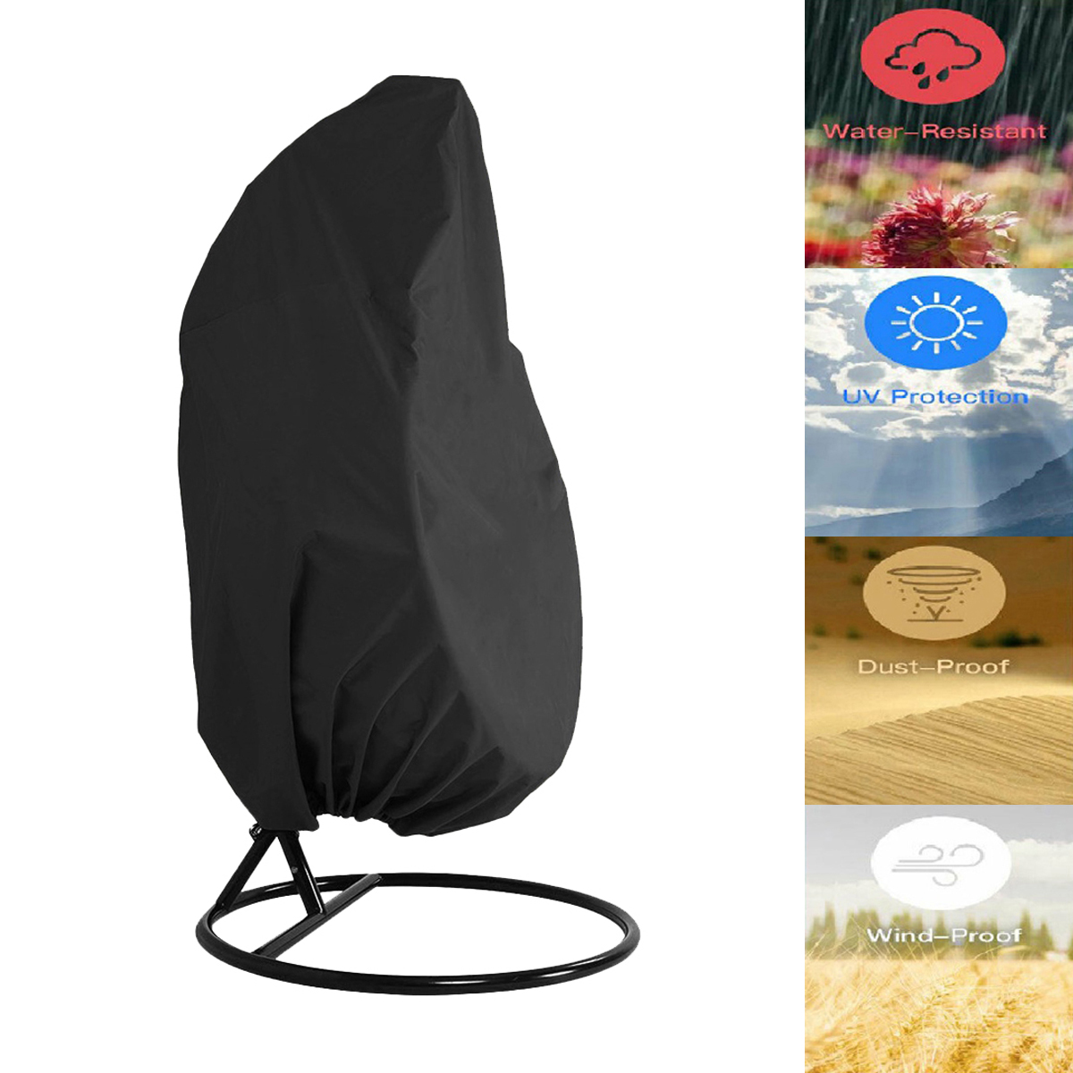 190 x 115cm Black / Grey  210D Oxford Fabric Waterproof Dustproof Outdoor Garden Patio Hanging Swing Rattan Chair Cover