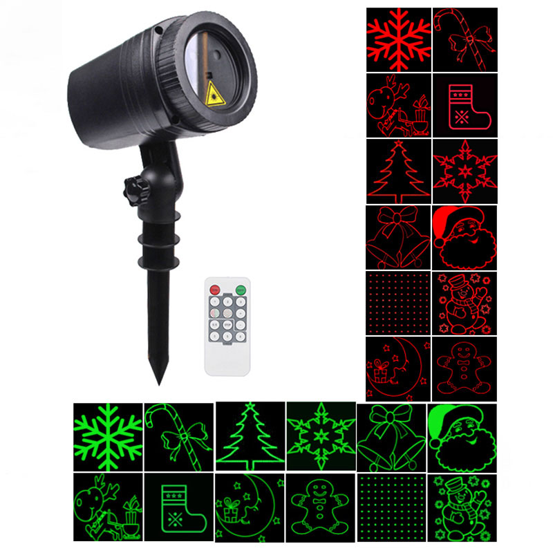 WL-502A 12 Patterns Waterproof LED Outdoor Dynamic Lawn Lamp Projector Laser Light with RF Remote Control for Christmas / Holiday Party / Garden Decoration