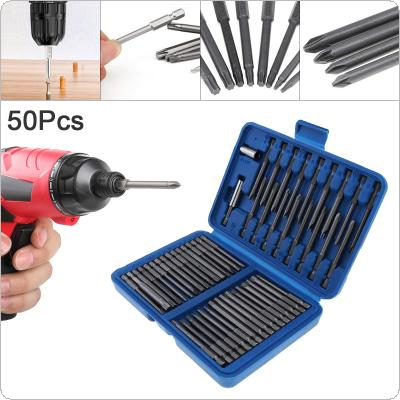 50PC 75MM Extra Long Bits Set Multi-purpose Screw Head Screwdriver Bit Set Fit for Electric Screwdriver